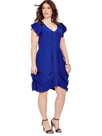 Lace Insert Tunic Dress In Royal