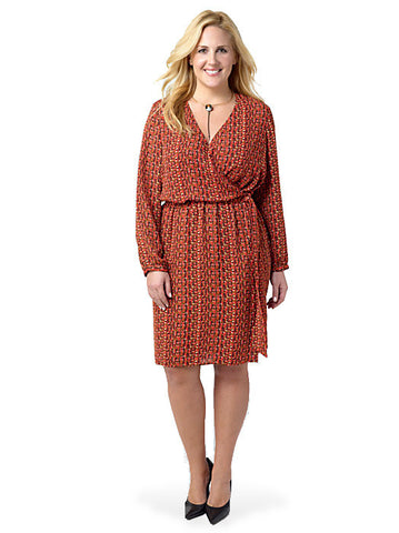 Pattern Georgette Wrap Dress Paprika Weave