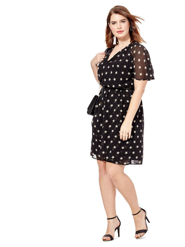 Beata Faux Wrap Dress In Star Print
