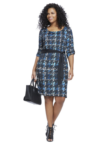 Houndstooth Belted Shift Dress