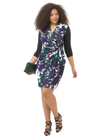 Floral Colorblock Faux Wrap Dress