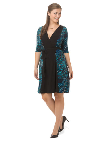 Mix Wrap Dress in Mystic Peacock Print