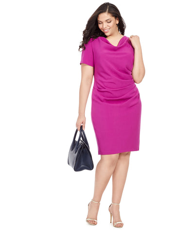 Cerise Cowl Neck Dress