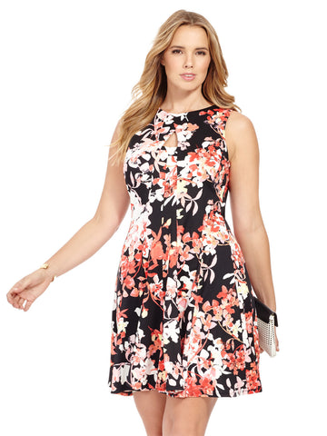 Scuba Dress In Pink Floral