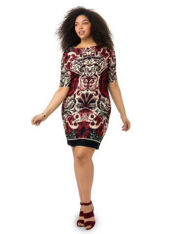 Scuba Dress In Marsala