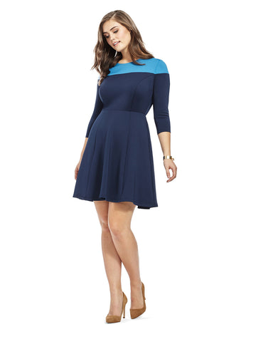 Navy Color Block Fit & Flare Dress