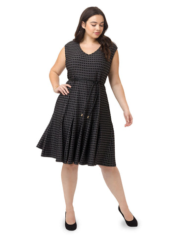 Jacquard Dress In Black Graphite