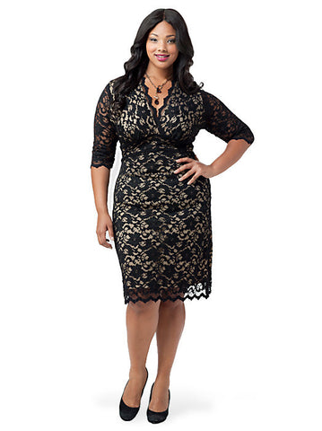 3/4 Sleeve Scalloped Boudoir Lace Dress Black