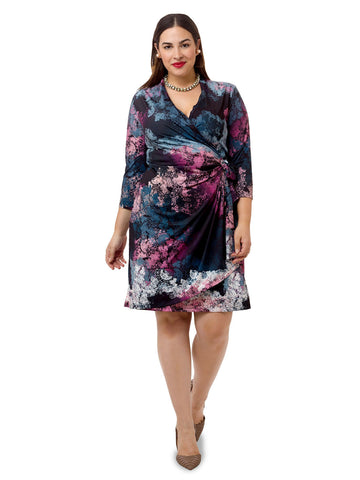 Painterly Printed Faux Wrap Dress