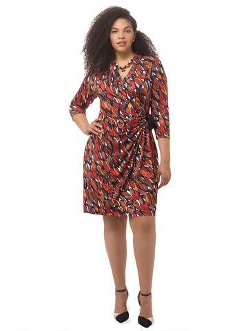 Autumn Breeze Faux Wrap Dress