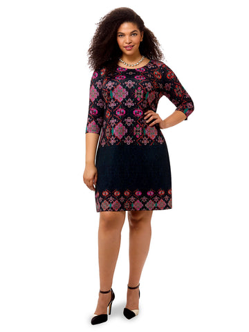 Imperial Trellis Printed Shift Dress