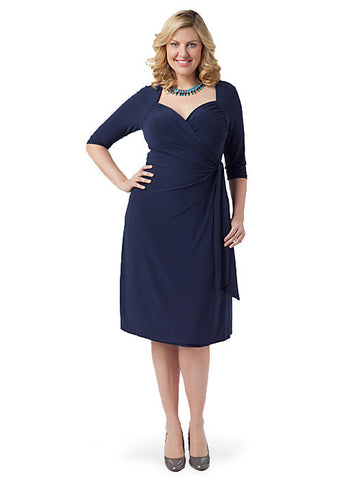 Sweetheart Knit Wrap Dress Navy