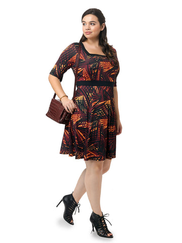 Abstract Palm Print Fit & Flare Dress