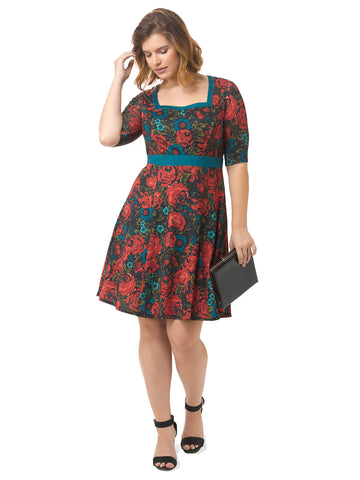 Floral Printed Fit & Flare Dress