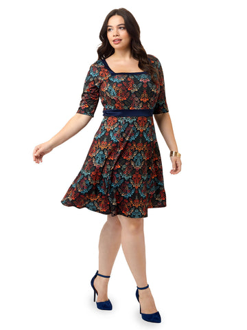Damask Floral Fit & Flare Dress