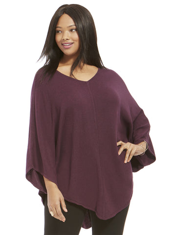 Sweater Poncho In Eggplant