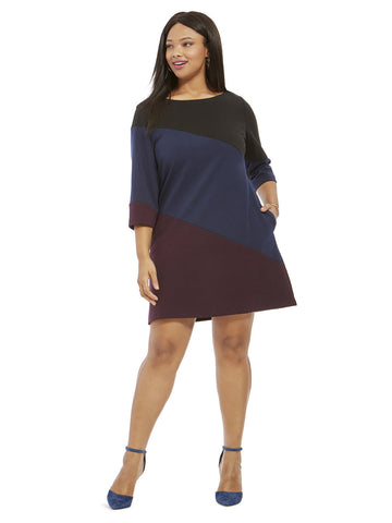 Shift Dress In Diagonal Colorblocking