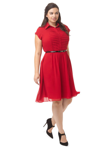 Pleated Front Shirt Dress In Poppy
