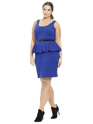 Scoop Neck Ponte Peplum Dress In Royal