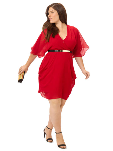 Poppy Red Belted Wrap Dress