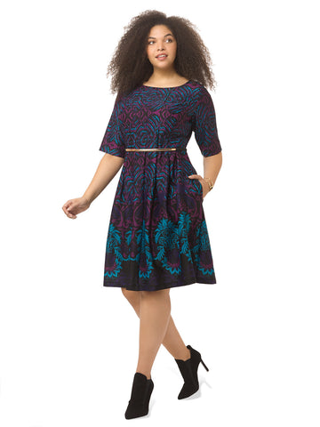 Fit & Flare Scuba Dress In Contrast Teal Print