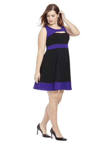 Colorblocked Peekaboo Dress In Purple And Black