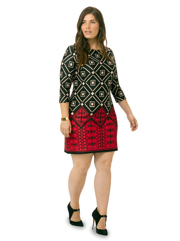 Boatneck Geometric Print Shift Dress