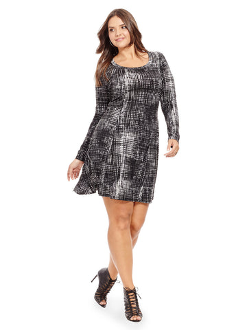 Graphic Plaid Knit Dress