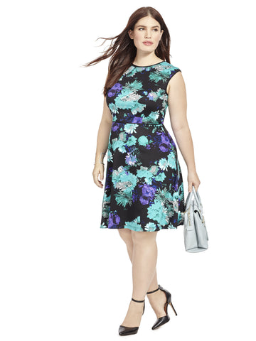 Flared Dress In Blue Floral