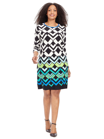 Shift Dress In Large Chevron