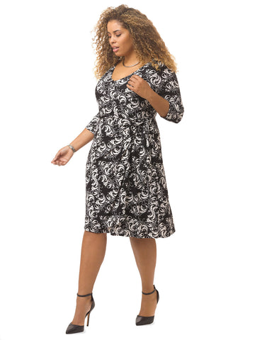 Fiona Wrap Dress In Black & White Print