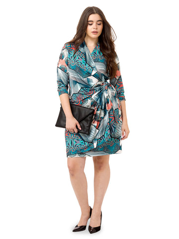 Abstract Fan Faux Wrap Dress