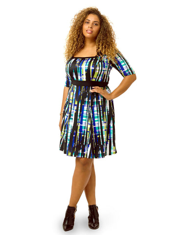 Streaked Plaid Printed Fit & Flare Dress