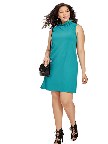 High Neck Dress In Teal