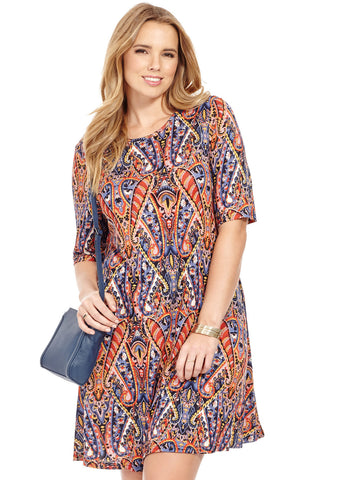 Swing Dress In Indigo Print