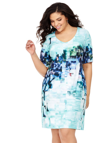 Shift Dress In Pixelated Print