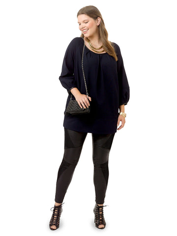 Pleat Front Tunic In Navy