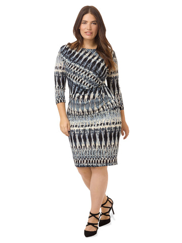 Gray Side Pleated Dress