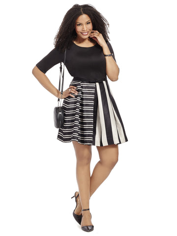 Pleated Dress In Mixed Stripe