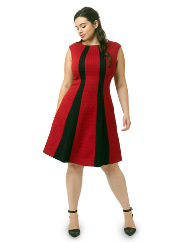 Fit & Flare Dress In Black & Red