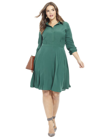 Fit & Flare Shirt Dress In Jungle Green