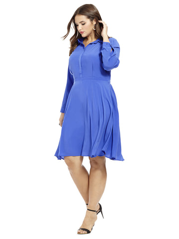 Fit & Flare Shirt Dress In Dazzling Blue