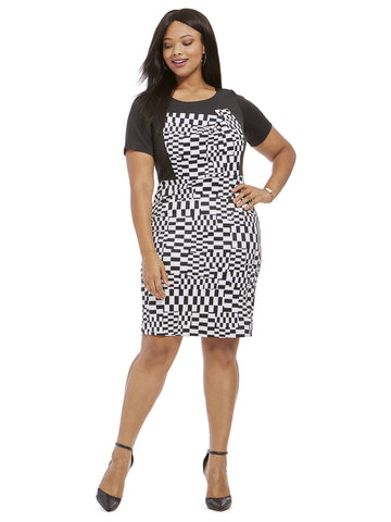 Checkerboard Printed Dress