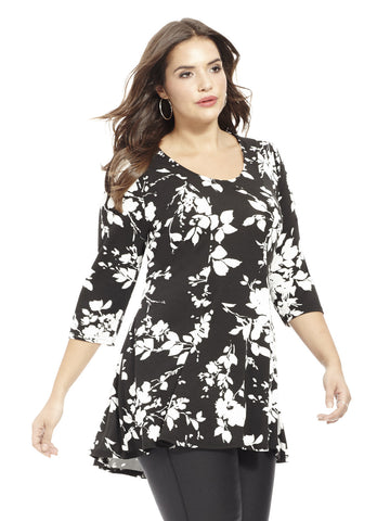 Peplum Top In Black & White Floral