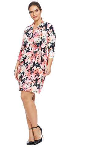 Vibrant Printed Faux Wrap Dress