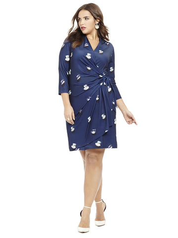 Teacup Printed Faux Wrap Dress