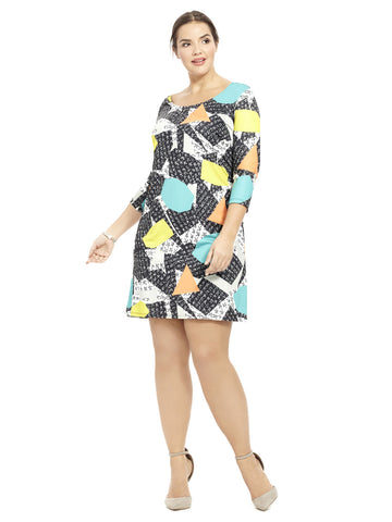 Geometric Collage Printed Shift Dress