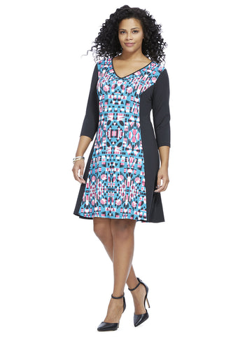 Aztec Colorblock A-Line Dress