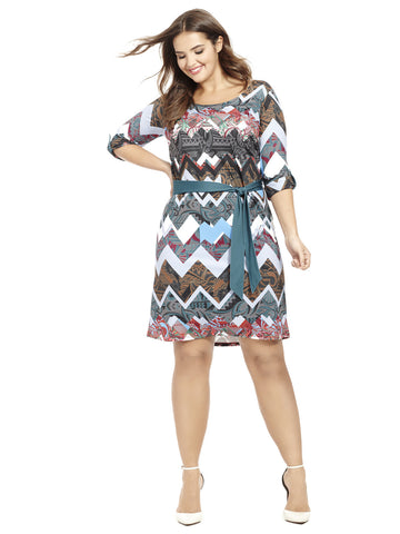 Mixed Print Chevron Belted Shift Dress