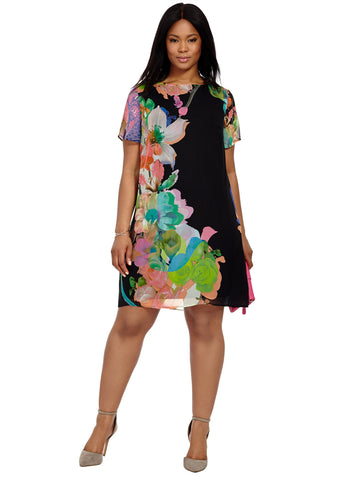 Chiffon Swing Dress In Large Floral